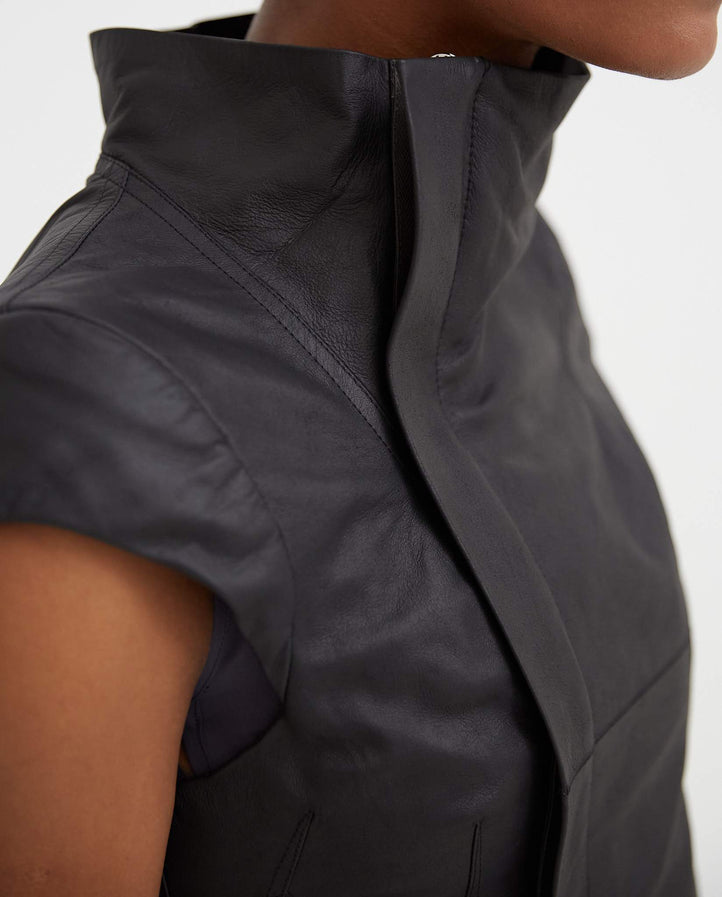 Naska Sleeveless Leather Jacket - Black WOMENS RICK OWENS