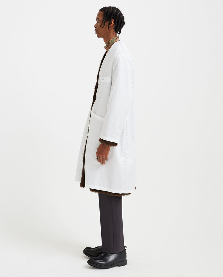 Nylon Labo Coat with Fake Fur Lining - White/Brown MENS RAF SIMONS