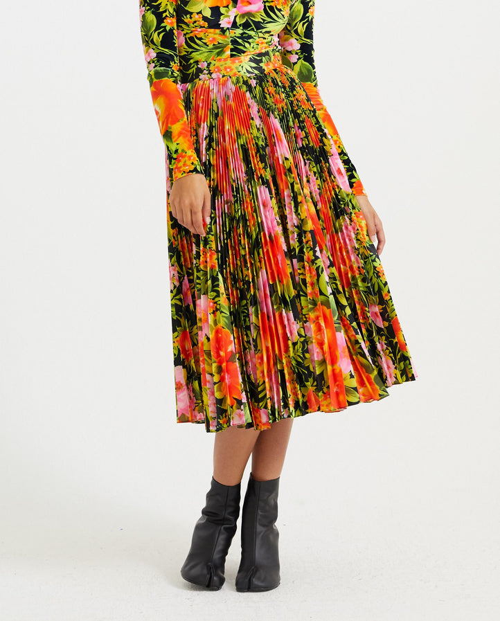 Orange Floral Pleated Skirt - Apricot Orange WOMENS RICHARD QUINN