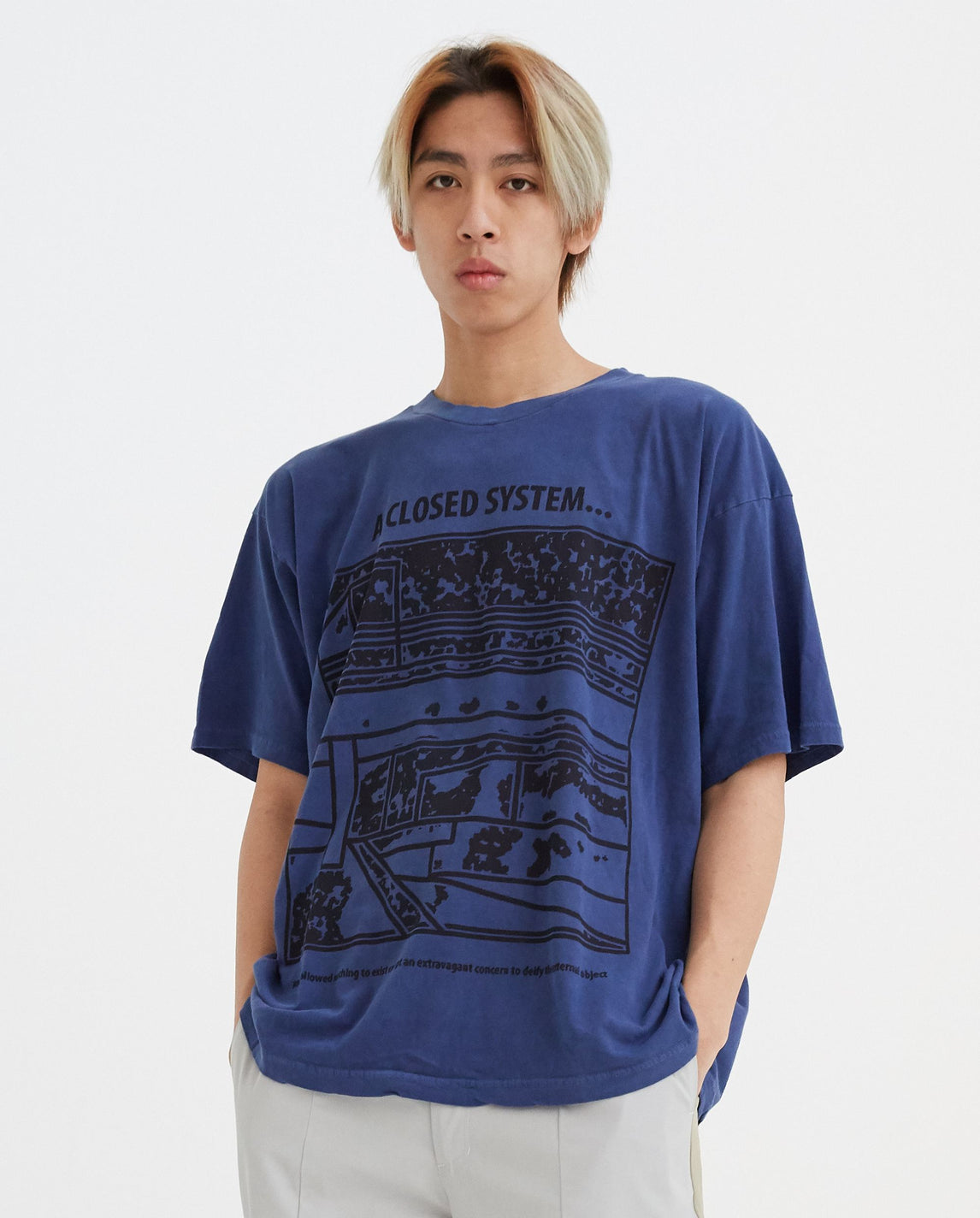 Over-dye Closed System Big T-Shirt - Blue UNISEX CAV EMPT