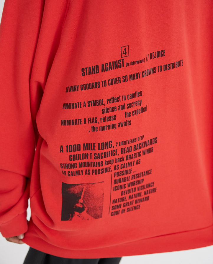 Oversized Hooded Sweater With Front And Back Print - Red MENS RAF SIMONS