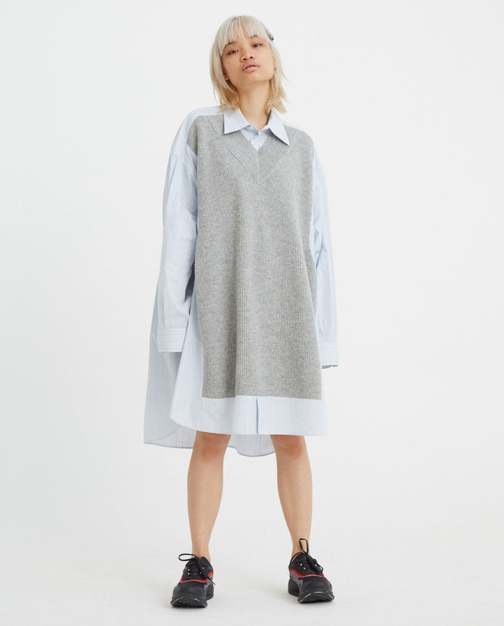 Oversized Knit Front Shirt - Blue/Grey WOMENS MAISON MARGIELA