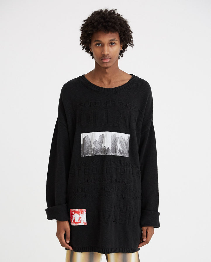 Oversized Knit Kollaps Relief And 2 Patches - Black MENS RAF SIMONS