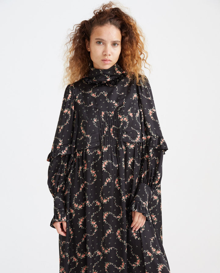Oversized Robe Dress - Black/Floral WOMENS PACO RABANNE