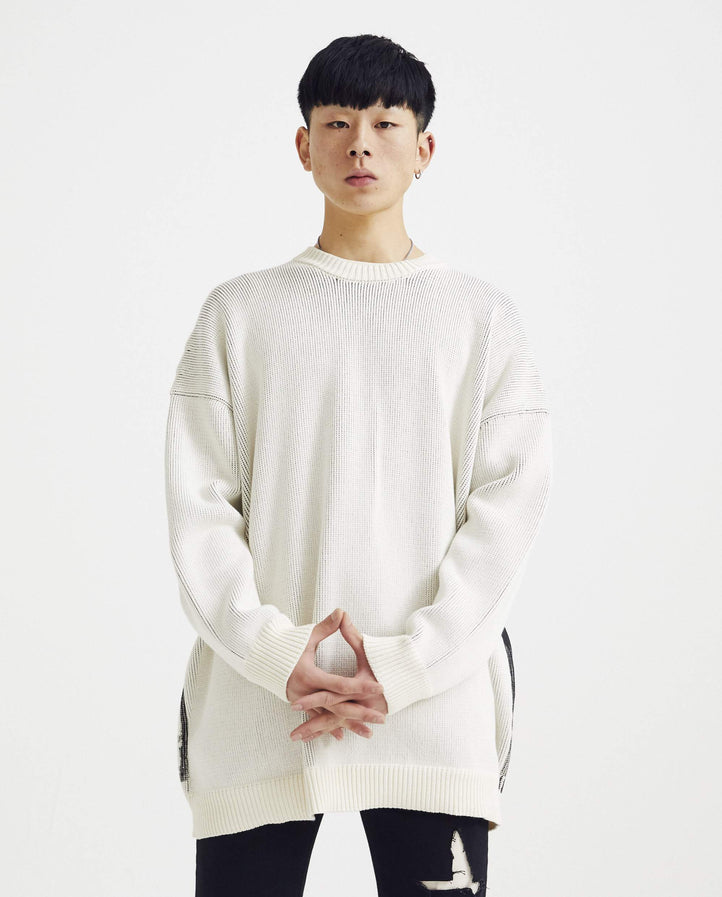 Oversized Roundneck Sweater With Print - White MENS RAF SIMONS