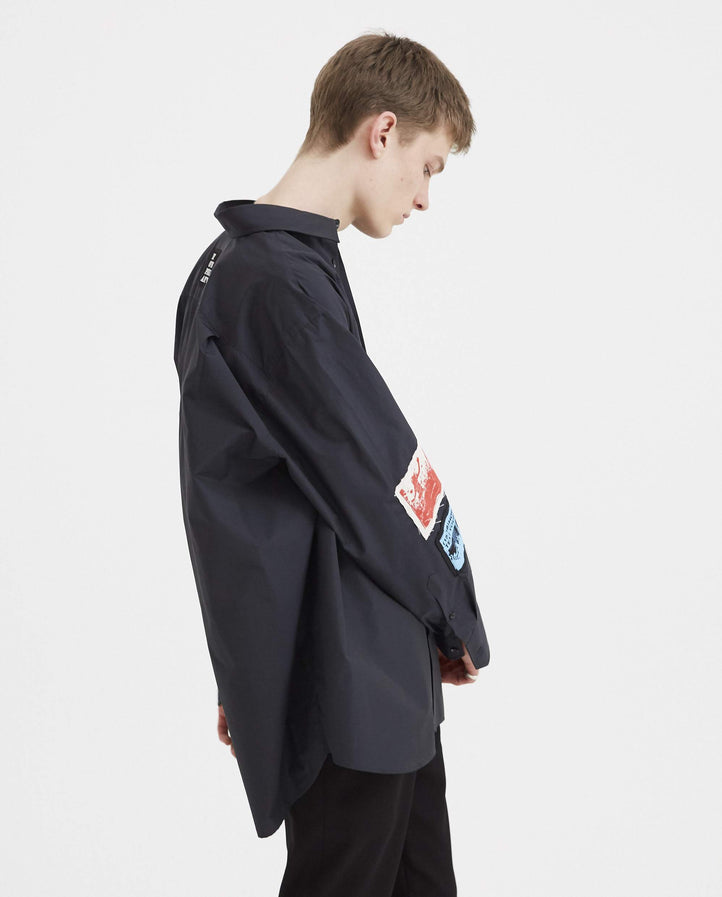 Oversized Shirt with Patches - Dark Navy MENS RAF SIMONS