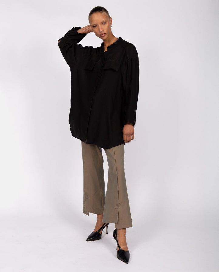 Oversized Shirt with Pockets - Black WOMENS DELADA