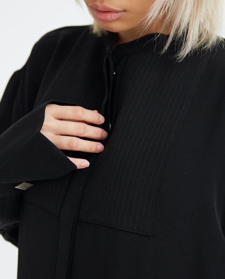 Oversized Silk Tuxedo Shirt with Cufflinks - Black WOMENS PETER DO