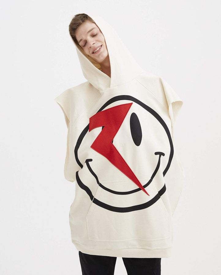 Oversized Sleeveless Hoodie with Patch - Ecru MENS RAF SIMONS