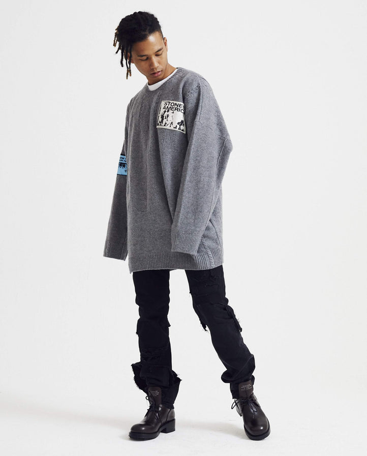 Oversized Sweater with Patches - Grey MENS RAF SIMONS