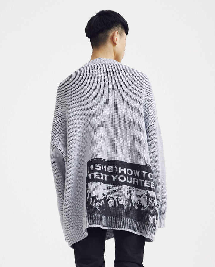 Oversized V-Neck Cardigan With Backprint - Light Grey MENS RAF SIMONS