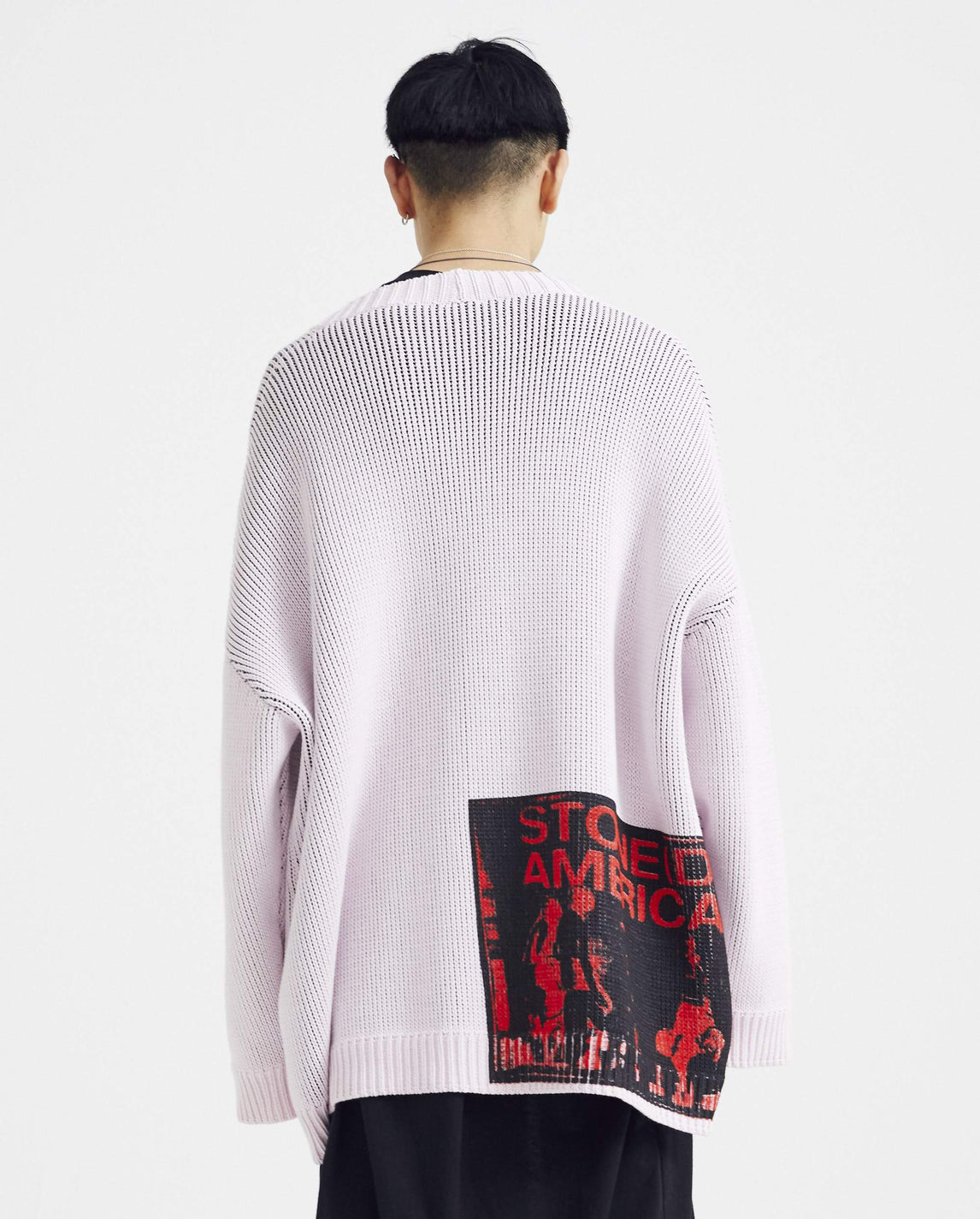 Oversized V-Neck Cardigan With Backprint - Light Pink MENS RAF SIMONS