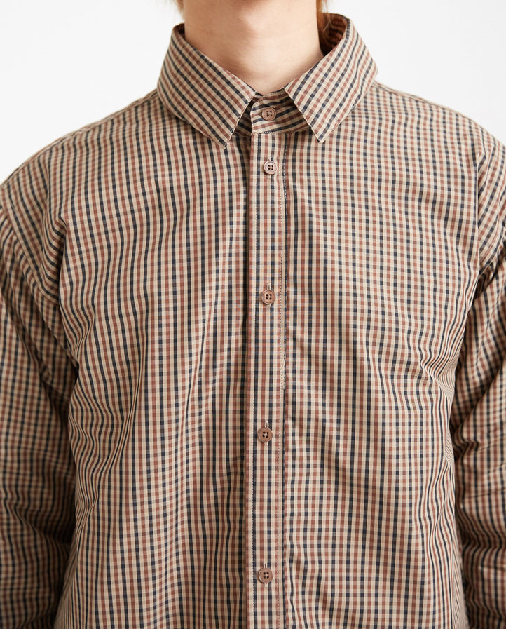 Padded Shirt Jacket - Brown Check MENS MARTINE ROSE