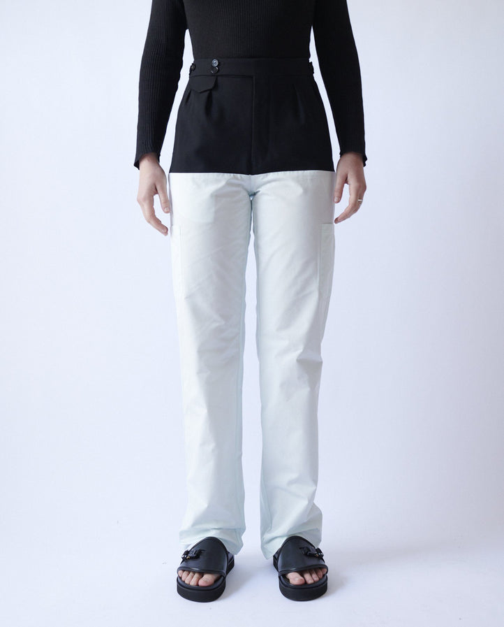 Pants with Horizontal Cut and Suspenders - Black/Green MENS RAF SIMONS