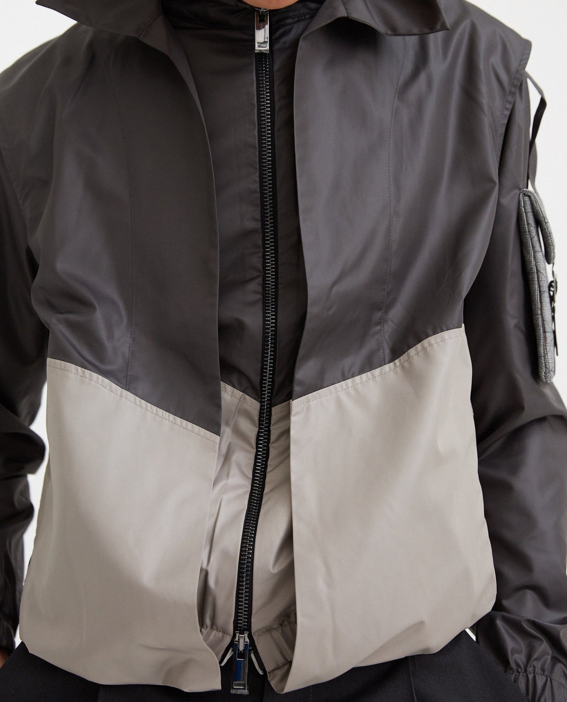 Patch Work Track Jacket - Black and Grey MENS DELADA