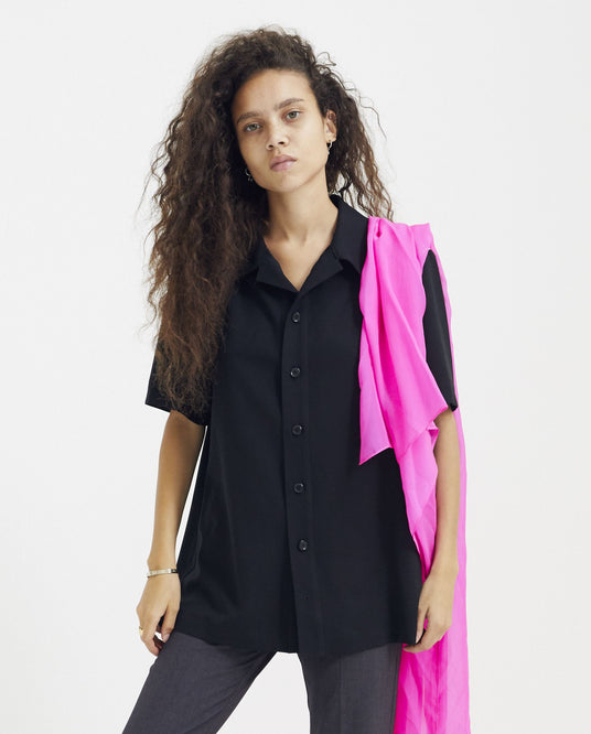 Pink Chiffon Embroidered Shirt - Black / Pink WOMENS GOOMHEO