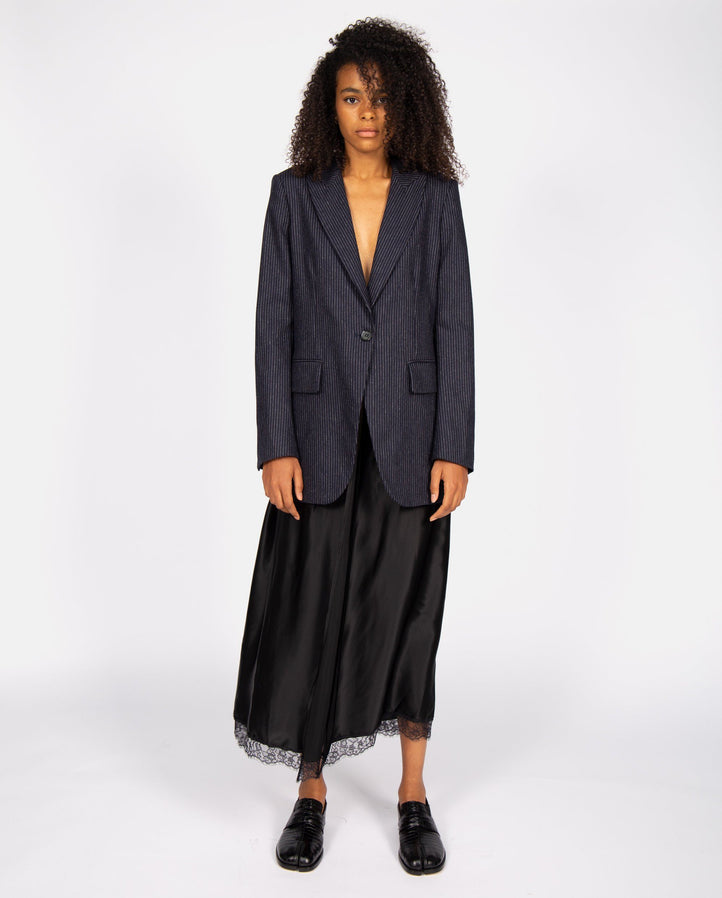 Pinstripe Jacket with Skirt - Navy / Black WOMENS MM6 MAISON MARGIELA