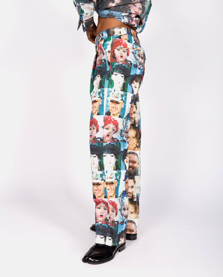 Pixel Face Print Tailored Trousers - Multi UNISEX XANDER ZHOU