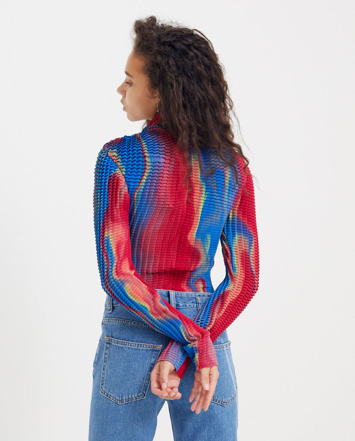 Pleated Top - Blue / Red UNISEX GOOMHEO