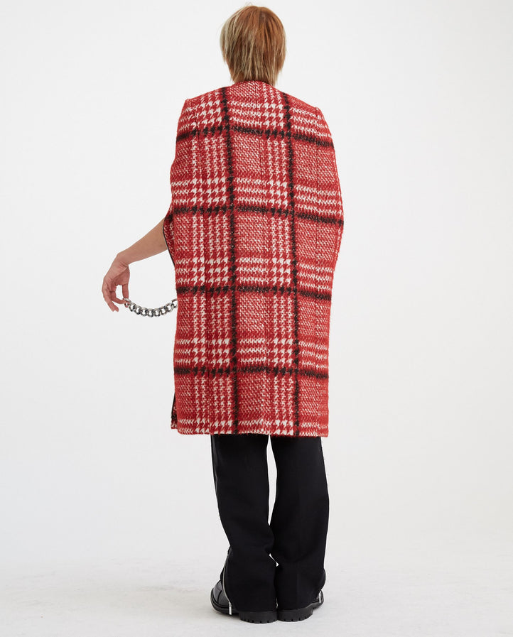 Punk Cape with Long Zippers - Red MENS RAF SIMONS