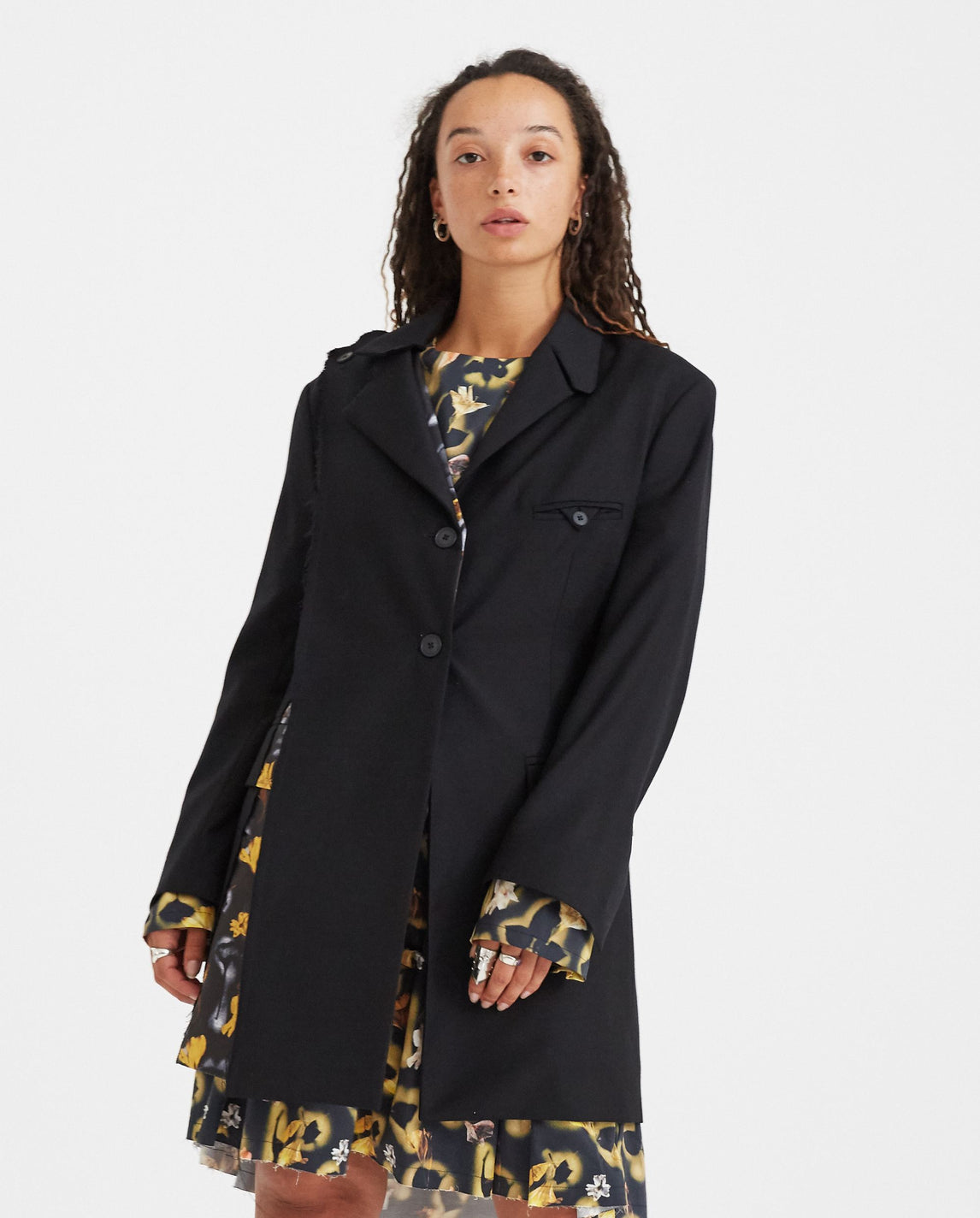 Raw Edged Removable Panel Blazer Dress - Black WOMENS DELADA