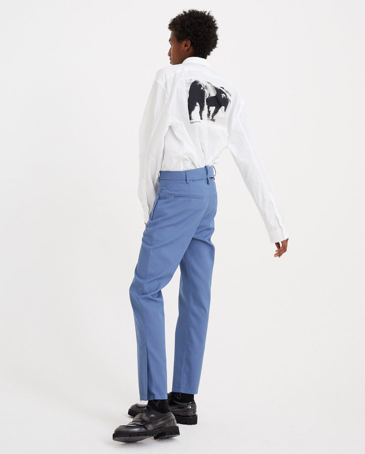 Raw Edged Ripped Waist Belt Slim Trouser - Blue UNISEX DELADA
