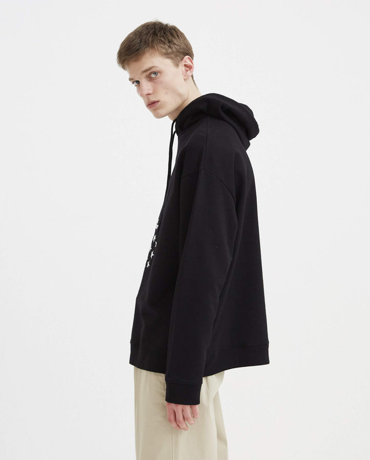 Regular Fit Hoodie with Patches - Black MENS RAF SIMONS