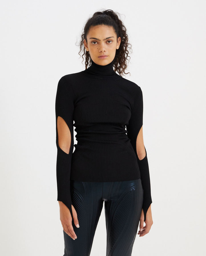 Ribbed Turtleneck Cut-Out - Black WOMENS MUGLER