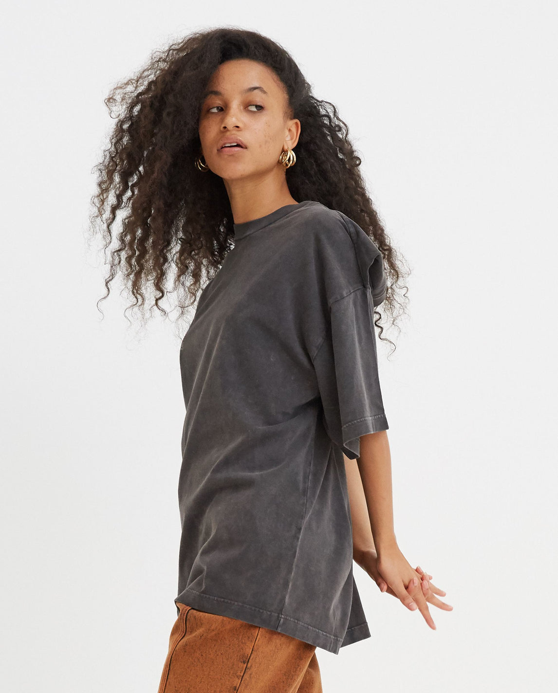 Rose Clipped Shoulder T-Shirt - Grey WOMENS Y/PROJECT
