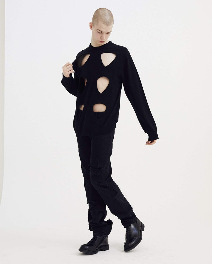 Round Neck Sweater With Cut Outs and Badges - Black MENS RAF SIMONS