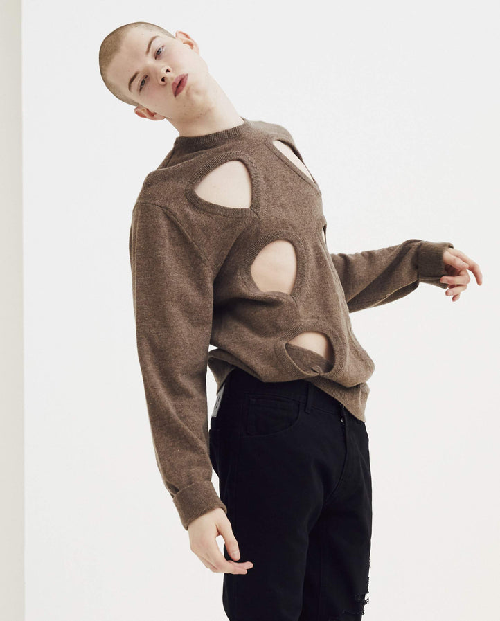Round Neck Sweater with Cut Outs and Badges - Tobacco MENS RAF SIMONS