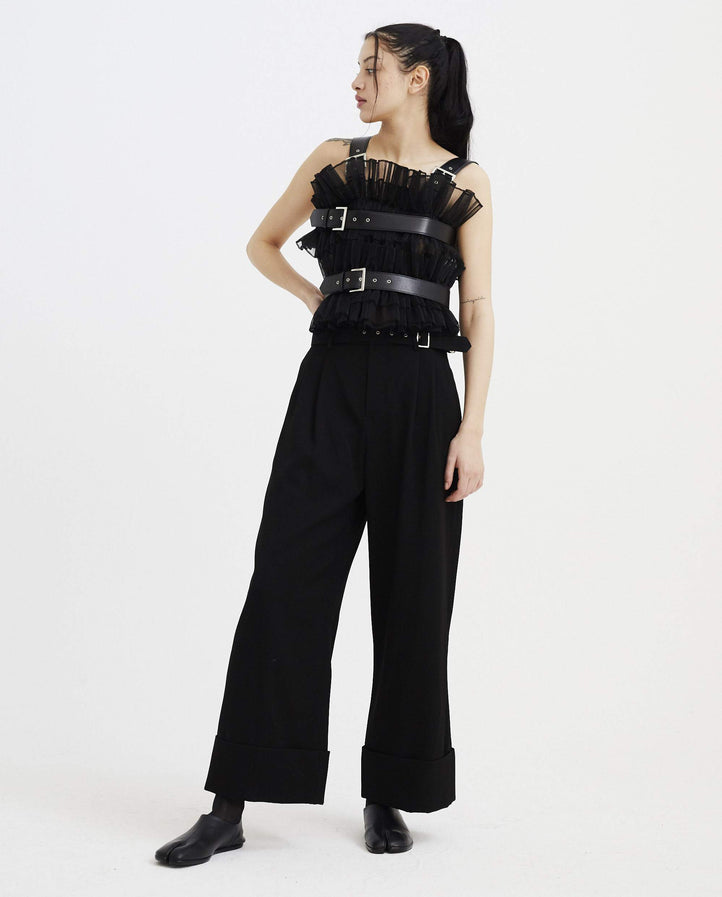 Ruched Vest with Leather Straps - Black WOMENS NOIR KEI NINOMIYA