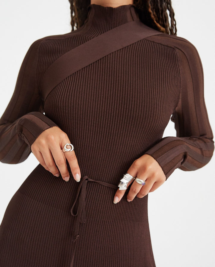 Seatbelt Dress - Umber Brown WOMENS PETER DO