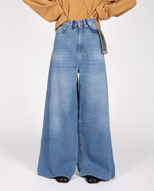 Shadow Wide-Leg Jeans - Blue WOMENS MM6 MAISON MARGIELA