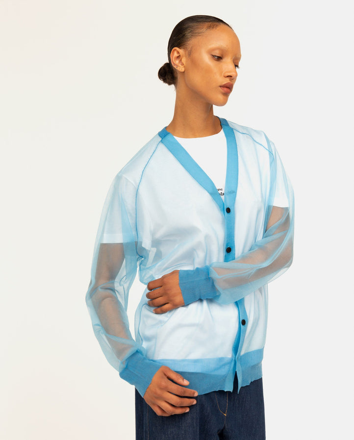 Sheer Knit Cardigan - Light Blue WOMENS TOGA
