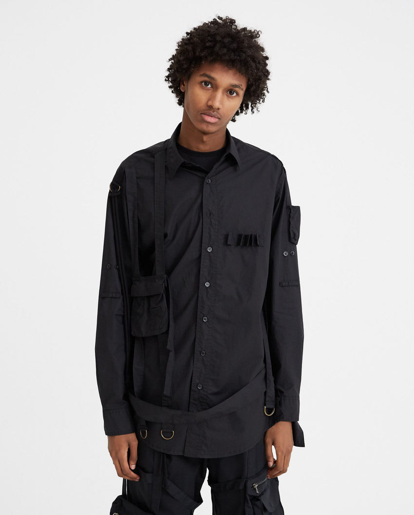 Shirt With Outside Pockets And Straps - Black MENS RAF SIMONS