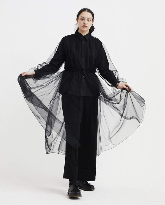 Shirt with Sheer Overlay - Black WOMENS NOIR KEI NINOMIYA