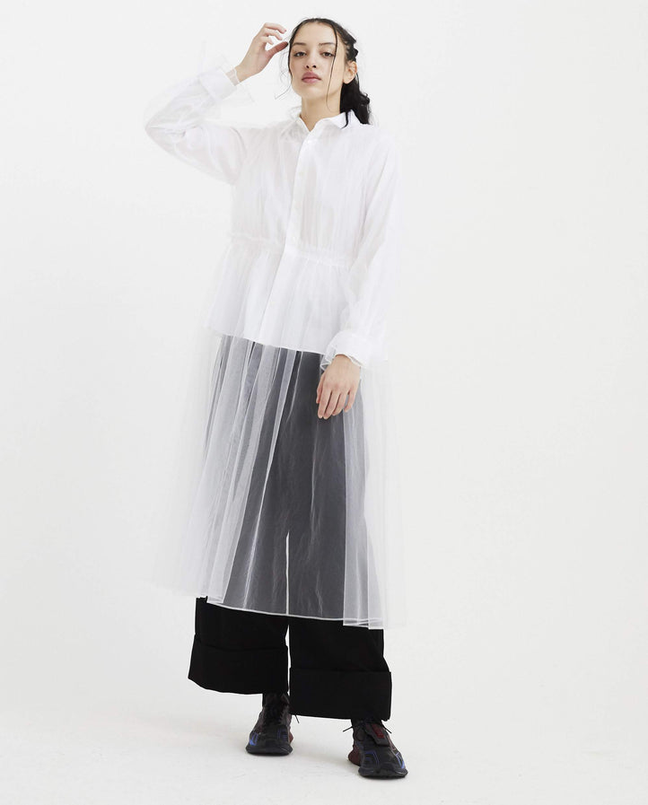 Shirt with Sheer Overlay - White WOMENS NOIR KEI NINOMIYA