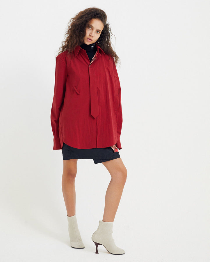 Shirt with Side Buttons and Tie - Red UNISEX DELADA
