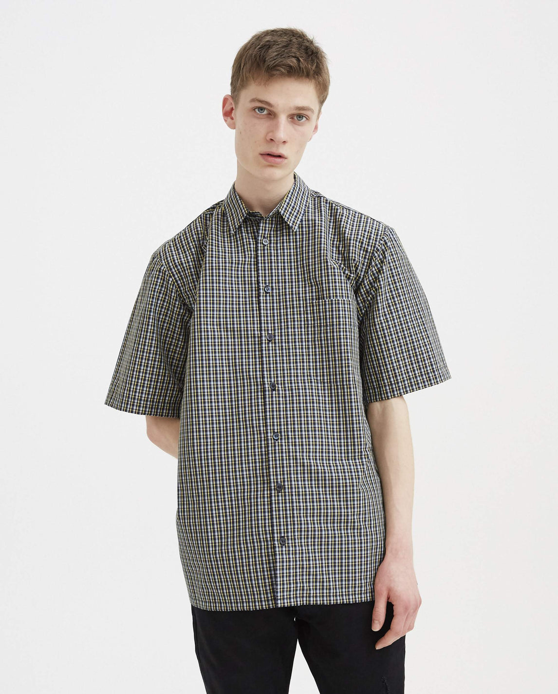 Short Sleeved Big Fit Shirt with Print - Blue & Yellow MENS RAF SIMONS