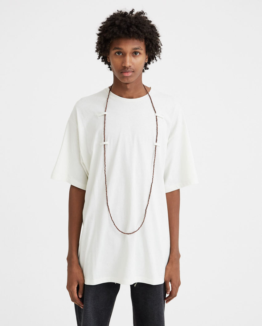 Short Sleeved T-Shirt With Beaded Chain - White MENS RAF SIMONS