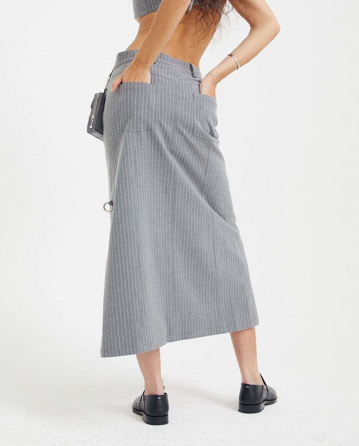 Side Belt Wrap Skirt - Grey Stripe WOMENS PRIVATE POLICY