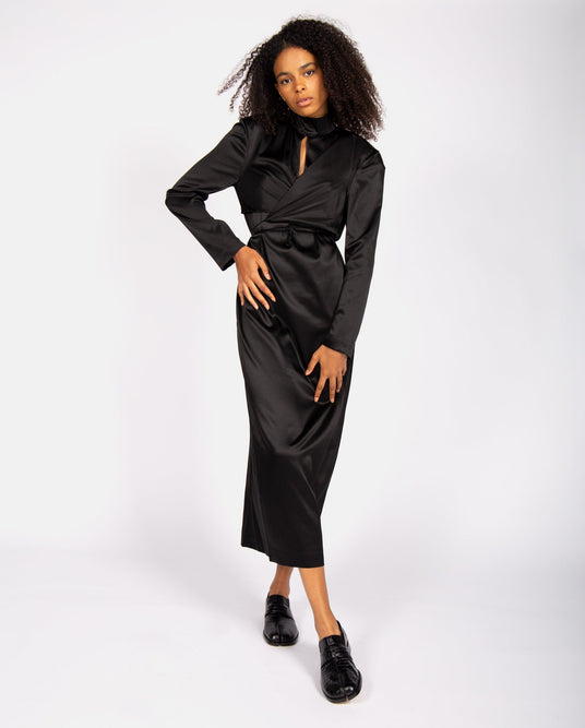 Silk Dress with Wrap Around Bra - Black UNISEX MATERIEL