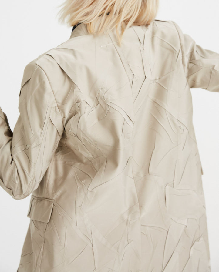 Single Breasted Coat - Beige WOMENS MM6 MAISON MARGIELA