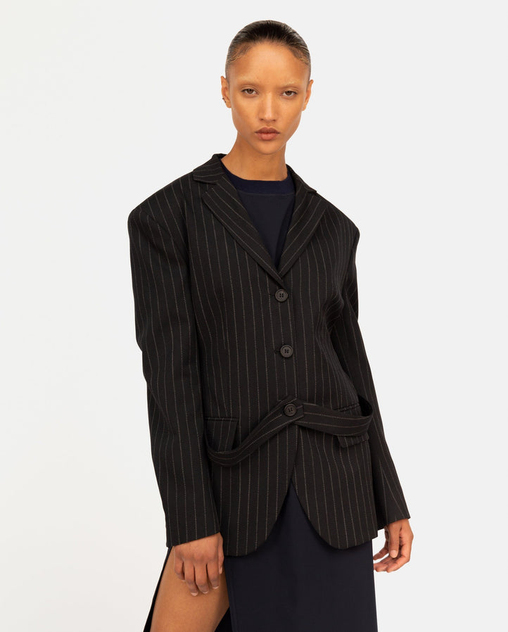 Single Breasted Half Blazer with Straps - Black Stripe WOMENS DELADA