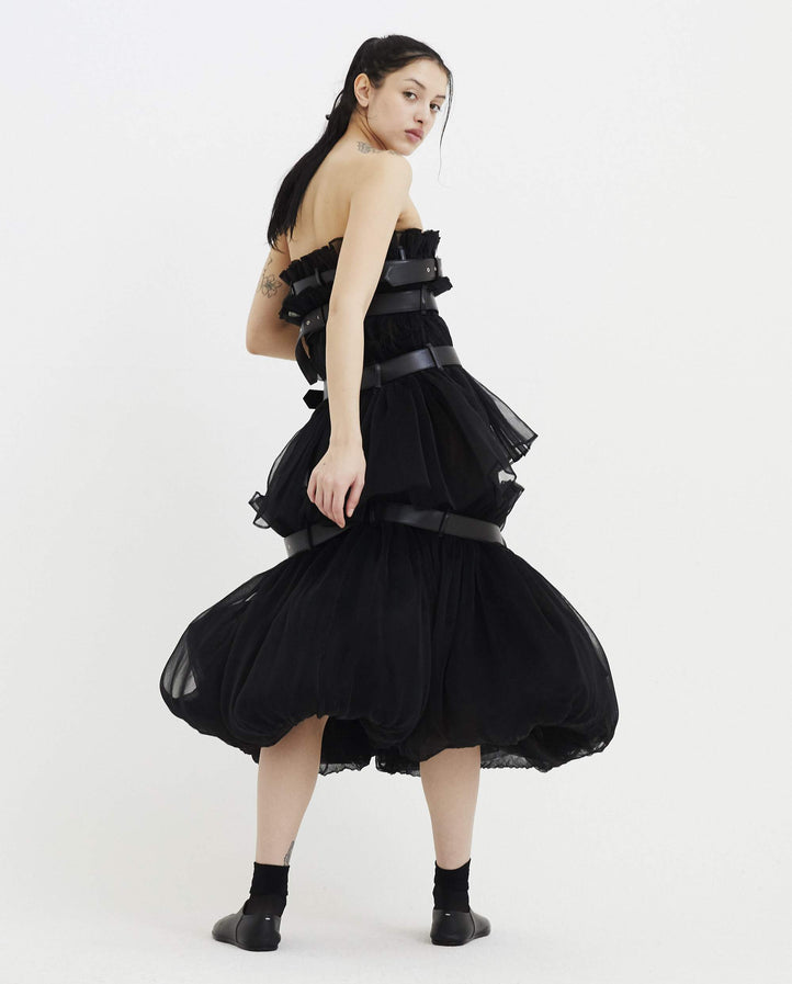 Skirt Dress with Leather Straps - Black WOMENS NOIR KEI NINOMIYA