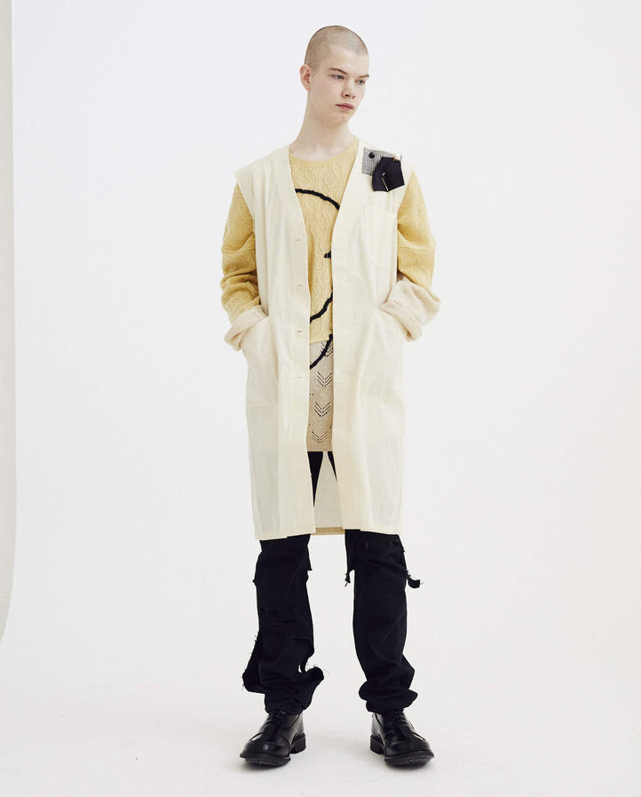 Sleeveless Labo Coat - Ecru MENS RAF SIMONS
