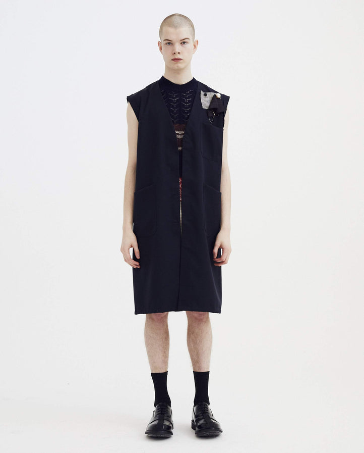 Sleeveless Labo Coat - Navy MENS RAF SIMONS