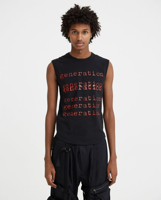 Sleeveless Slim Fit T-Shirt With Generation Print - Black MENS RAF SIMONS