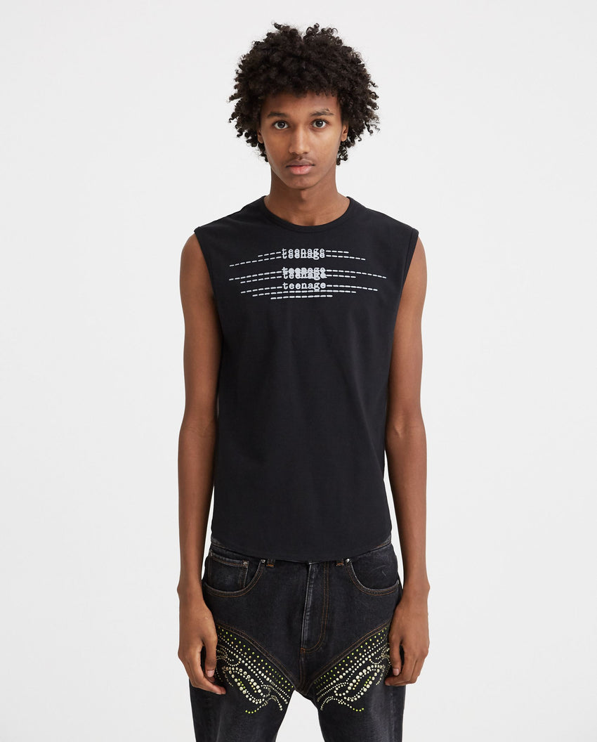Sleeveless Slim Fit T-Shirt With Teenage Print - Black MENS RAF SIMONS